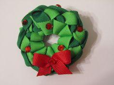 Christmas Wreath Hair clip. $6.00, via Etsy.
