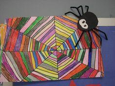 Rainbow Spider Web - Artsonia Lesson Plan 2-3rd grade