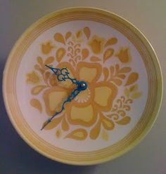 a clock from a plate with blue hands for the Time Thief