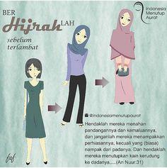 #YukBerhijrah dalam Berbusana Sholihah  .  Follow and Support @indonesiamenutupaurat Hijrah Islam, Doa Islam, Muslim Quotes, Islamic Quotes, Quran Quotes, Qoutes, Happy Sunday Morning, All About Islam, Hijab Tutorial