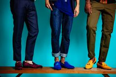Models on bench Showcasing the smoking slipper in Yellow, Blue and Wine. The Milan and Turin Velvet Slipper collection available on DARA Shoes website (www.darashoes.com). Check it out. #velvetslippers #shoes #mensshoes #dapper