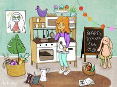 small kitchen for small girls - illustration Childrens Books, Behance, Illustrations, Graphic Design, Comics, Girls, Kitchen, Art, Children's Books