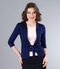 Dark blue jersey blouse tied with belt