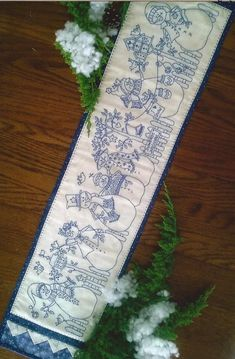 Stitch 7 Snowmen out in the Yard with Trees, Birds and Birdhouses. Make a super Table Runner or a BIG Bench pillow to have out all winter long. $10.00