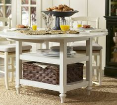 Drop-leaf table with extra storage- Shayne Drop-Leaf Kitchen Table Kitchen Table Small Space, Kitchen Table With Storage, Dining Table With Bench, Small Dining, Round Dining, Dining Room Table, A Table, Brunch Table, Dining Sets