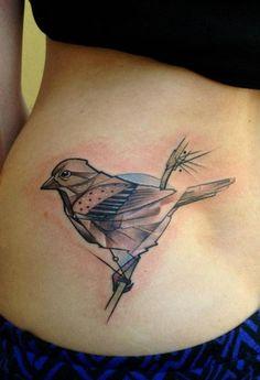 bird geometric animal tattoo design