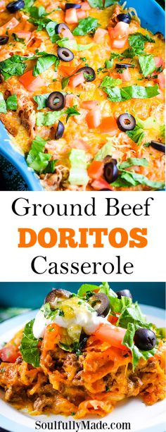 Taco seasoned ground beef flavored with salsa and sour cream creates a creaming filling for this Ground Beef Doritos Casserole. Layered with cheeses and crunchy Doritos baked until bubbly and delicious! Top it off with your favorite taco toppings to create a family favorite meal! #DoritosCasserole #GroundBeef #Hamburger #EasyMeals #FamilyRecipes Doritos Bake, Doritos Recipes, Hamburger Meat Recipes, Game Recipes, Dorrito Casserole, Dorito Taco Casserole, Casserole Recipes, Cowboy Casserole, Hamburger Casserole