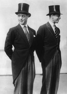 1927: The Prince of Wales, later King Edward VIII, with his brother, the Duke of Kent, on their American Tour, both in top hats and tails. (Photo by Fox Photos/Getty Images)