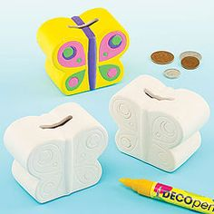 Kids will be 'winging' their way to healthy savings in no time with these Ceramic Butterfly Coin Banks.