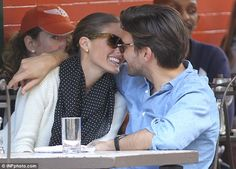 Olivia Palermo and boyfriend Johannes Huebl kiss and cuddle during a romantic luncheon / Mail Online on imgfave Olivia Palermo Stil, Olivia Palermo Lookbook, Polka Dot Scarf, Blue Polka Dots, Woven Beach Bags, Couple Photoshoot Poses, Gq Style, Happy Together, Fashion Couple