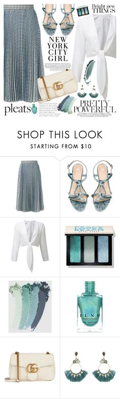 """""""Give Me Pleats, Please!"""" by martinabb ❤ liked on Polyvore featuring MSGM, H&M, Bobbi Brown Cosmetics, Gucci and Atelier Mon"""