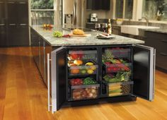 Kitchen, 2014 Kitchen Appliance Trends Colors And Design: Awesome Hidden Refrigerator Inside Kitchen Island