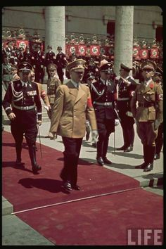 Third Reich in Color Adolf Hitler with SS Officers LIFE Image