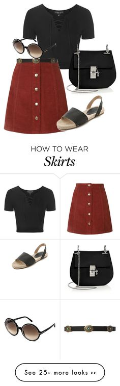 """red a-line skirt"" by monikaps on Polyvore featuring Topshop, Tom Ford, Soludos and Chloé"