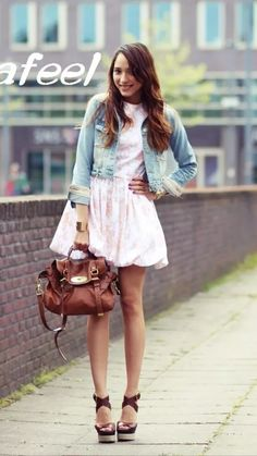 Fun cute pink balloon dress denim