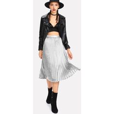 SheIn(sheinside) Pleated Metallic Skirt (68 PEN) ❤ liked on Polyvore featuring skirts, metallic pleated skirt, pleated skirt, knee length skirts, knee high skirts and going out skirts