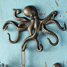 Swimming Octopus Key Hook | Iron Accents