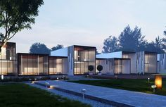 Design of Modern Hotel in Lithuania, the site consists of private Villas, chalets and recreational areas. The buildings are designed with efficient construction and easy to maintain materials. Lithuania, Villas, Architects, Architecture Design, Buildings, Construction, Queen, Mansions, House Styles