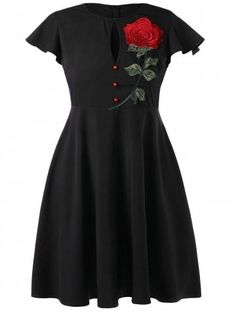 Col rond broderie rose rouge manches courtes robe noire 173737 Source by Fit And Flare, Plus Size Dresses, Plus Size Outfits, Rockabilly, Casual Dresses, Short Sleeve Dresses, Short Sleeves, Flowy Dresses, Long Sleeve