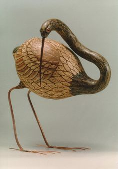 wood burned gourd crane