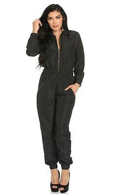Top Gun Long Sleeve Flight Bomber Jumpsuit in Black
