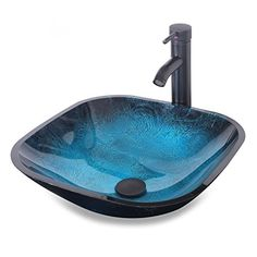 Eclife Ocean Blue Square Bathroom Sink Artistic Tempered Https Www Dp B01lwcrg2b Ref Cm Sw R Pi X Pi3iybxqp1235
