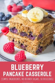 Sweet and fluffy, this Blueberry Pancake Casserole is the perfect breakfast. It's filled with fresh fruits, beautiful cinnamon flavor and so HEALTHY --- refined sugar-free and made with whole grains. A perfect dish that the whole family will enjoy! -------- #healthy #breakfast #easy #recipe #summer #blueberry #casserole #makeahead #pancakes