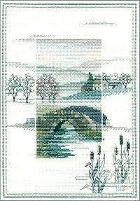 winter Cross Stitch Silhouette   ... cross stitch designs, Winter Bridge, in the Misty Autumn Scenes Range