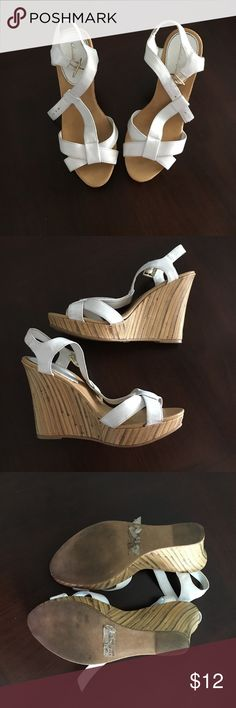 White Strappy Summer Wedges Super cute white and tan wedge sandals. Strappy and comfy. Good pre loved condition. Only worn a few times. Offers and questions welcome! Bundle and save! Charlotte Russe Shoes Wedges