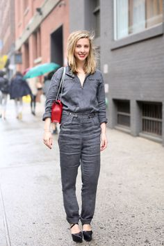 Street Style Resort 2014: BAZAAR's Kerry Pieri in an Isabel Marant Etoile jumpsuit with a Saint Laurent bag
