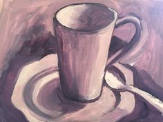Oil on card,  quick cup with spoon by me .