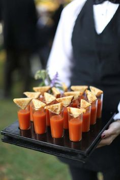 Wedding food ideas for fall tomato soup shots outdoor fall wedding reception at vineyards tasty in . wedding food ideas for fall Wedding Snacks, Wedding Appetizers, Wedding Reception Food, Wedding Catering, Wedding Ideas, Wedding Trends, Trendy Wedding, Reception Ideas, Fall Appetizers