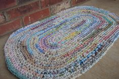 """Crocheted Rug / Rag Rug.  Shabby, Boho, Vintage Decor - 24"""" x 36"""" Hand-made in the USA - 100% reclaimed / recycled materials. Eco Friendly"""