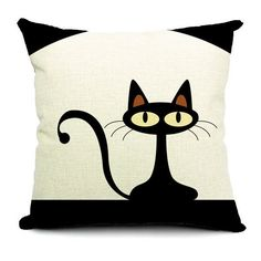 Cute Cartton Cat Print Pillow Case Cotton Linen Pillowcase Home Sofa... ($7.05) ❤ liked on Polyvore featuring home, home decor, throw pillows, personalized throw pillows and personalized home decor