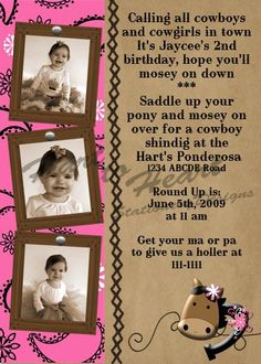 Western Cowgirl Party Pink Invitation