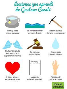 Lecciones que aprendí de Gustavo Cerati:http://zonadecronopios.wordpress.com/2014/09/05/lecciones-que-aprendi-de-gustavo-cerati/