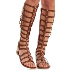Bamboo Tall Strappy Tall Knee-High Gladiator Sandals ($43) ❤ liked on Polyvore featuring shoes, sandals, chestnut, tall strappy sandals, gladiator sandals shoes, vegan sandals, gladiator shoes and studded sandals