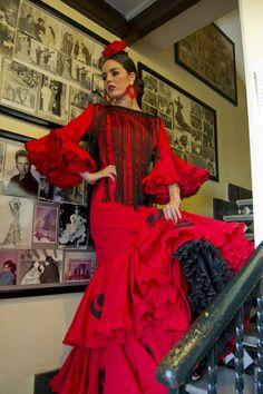 Traje de Lina entreciriosyvolantes 2 Flamenco Party, Flamenco Dresses, Spanish Dance, Sari, Princess, Red, Seville, Flamingo, Inspiration
