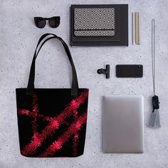 Laukku Pinky – JohannaDesign Black Abstract, Abstract Print, Printed Tote Bags, Canvas Tote Bags, Red Tote Bag, Square Art, Designer Totes, Ink Art, Bag Making