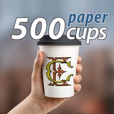 500 personalized PAPER CUP with Victorian MONOGRAM : 6.5/8/10/13oz by…