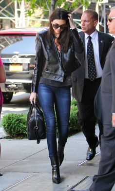 Kendall Jenner Casual Chic : Denim + Leather (Faux Leather Only Protect Animals from Cruelty)