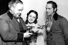 """9/4/14 11:51a Charles Laughton and his Oscar for """"The Private Lives of Henry VIII"""" On the Set of ''The Barretts of Wimpole Street'' Norma Shearer Fredric March 1932/1933"""