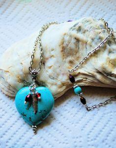 Turquoise Purple Passion Heart Pendant Necklace