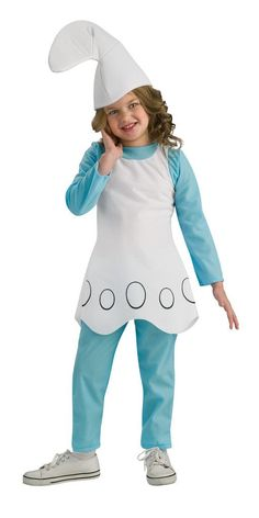 The Smurfs-Smurfette Child Costume Includes top, pants, and headpiece. Does not include shoes. This is an officially licensed The Smurfs costume. Weight (lbs) 0.37 Length (inches) 13.5 Width (inches)