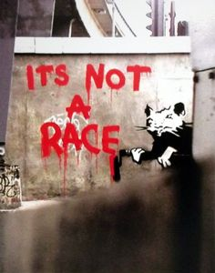 Items similar to Banksy canvas It's Not a Race Street Art Graffiti Premium Print on Etsy Banksy Graffiti, Banksy Rat, Banksy Canvas, Street Art Banksy, Bansky, Banksy Prints, Pop Art, Urbane Kunst, Amazing Street Art