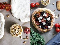 CRISPY KALE AND CHERRY TOMATOES MINI PIZZAS WITH VEGAN DILL CHEESE | Dear Kitchen | #vegan #pizza #recipe #kale #healthy