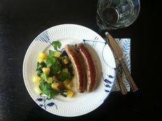 Sausages with hot potato and pak choi Salad.