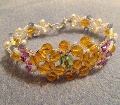 Spring Crystal  Bracelet. Handmade Crystal Bracelet. Yellow Crystal  Bracelet. Ideal gift for Mothers Day by MariposaByDesign on Etsy