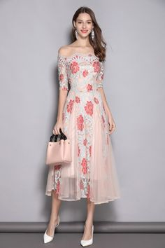 b8927d14fc90 Lace A-line 1 2 Sleeves Off-the-shoulder Prom Dress TCDTB8371