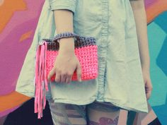 Neon Pink Crochet Clutch with Fringes